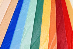 Blinds texture. Vertical blinds of textile fabrics of different colors Stock Photo