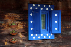 Blinds. Vintage blue window with blinds Royalty Free Stock Photos