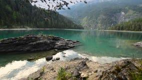 Blindsee Scenic Lake. Kayak on the Rocky Lake stock video footage