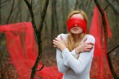blinfolded ładna kobieta Zdjęcie Stock