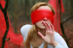Blinfolded Frau Lizenzfreie Stockfotografie