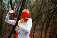 Blinfolded nette Frau Lizenzfreies Stockfoto