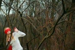 Blinfolded nette Frau im Wald Stockfoto