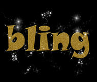 Bling. Typography illustration of the word Bling in gold and diamonds Stock Photos
