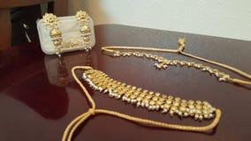 The bling. Arrifici Kundan accessories, gulubandh, necklace, matha patti, earrings Royalty Free Stock Photo