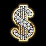 Bling-Bling. Het symbool van de dollar in diamanten. Vector. Stock Afbeelding