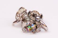 Bling bling rings. Various bling bling rings on a white background Stock Photo