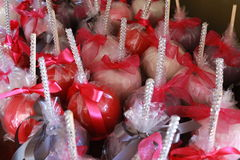 Bling candy apples. Colorful candle apples with bling royalty free stock photo