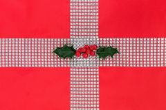 Bling and Holly Gift Wrapping Royalty Free Stock Photography