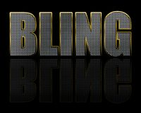 Bling Jewellery Text on Black. Metallic, diamond studded bling jewellery text on a black background with reflection stock illustration