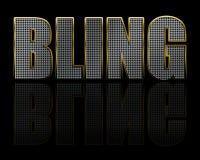 Bling Schmucksache-Text auf Schwarzem Stockfoto