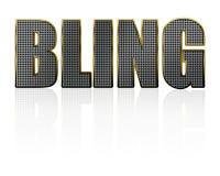 Bling Schmucksache-Text auf Weiß Stockfotos