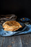 Blinis, blintzes - thick russian crepes Stock Photo