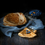 Blinis, blintzes - thick russian crepes Stock Images