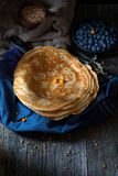 Blinis, blintzes - thick russian crepes Royalty Free Stock Photos