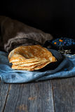 Blinis, blintzes - thick russian crepes Royalty Free Stock Photo