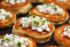 Blinis with cottage cheese Royalty Free Stock Images
