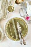 Blinis Pfannkuchen grünen Tees Matcha Lizenzfreies Stockbild