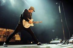 Blink 182. Guitarist Tom DeLonge of Blink 182 during performance in Prague, Czech republic, August 15, 2014 stock photos