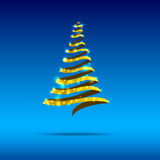 010-Blink snow christmas tree. Gold ribbon christmas tree with blink star on the blue background Royalty Free Stock Photo