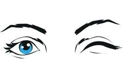 Blinka ögonsymbolstecknet Symbol som isoleras på vit bakgrund Arkivbilder