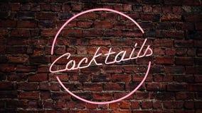 Blinkande Cocktails-tecken royaltyfri illustrationer