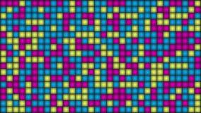 Blinkande flerfärgade mosaiklampor eller PIXEL på skärmen arkivfilmer