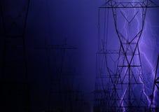 Blinken über elektrischen Leitungen Stockfotografie