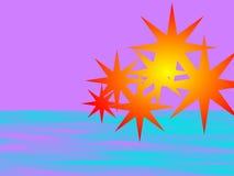 Blinken über Pinkfarbenem und Blauem Stockfoto