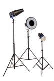 Blinken mit drei Studios auf Stativ Stockbild