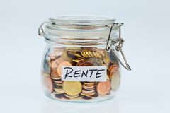 Blinken mit Münzen für Rentenbezugbestimmung Lizenzfreies Stockbild