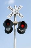 Blinkende Eisenbahn-Leuchten Lizenzfreies Stockfoto