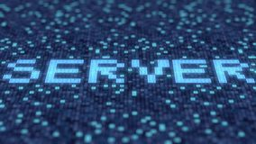 Blinkende hexadezimale Symbole auf einem blauen Bildschirm verfassen SERVER-Wort Animation Loopable 3D stock abbildung