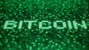 Blinkende hexadezimale Symbole auf einem grünen Bildschirm verfassen BITCOIN-Wort Animation Loopable 3D vektor abbildung
