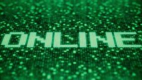 Blinkende hexadezimale Symbole auf einem grünen Bildschirm verfassen ON-LINE-Wort Animation Loopable 3D lizenzfreie abbildung