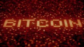 Blinkende hexadezimale Symbole auf einem roten Bildschirm verfassen Bitcoin-Text Animation Loopable 3D lizenzfreie abbildung