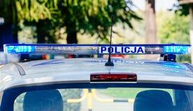 Blinkende Polizeiblaulichter angebracht am roo Lizenzfreies Stockfoto