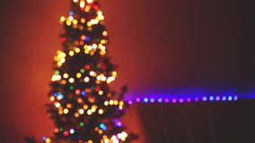 Blinking Christmas Tree blurred Lights bokeh. Winter Holidays Concept. 1920x1080 stock video