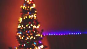 Blinking Christmas Tree blurred Lights bokeh. Winter Holidays Concept. 1920x1080 stock video