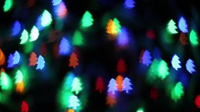 Blinking Color Lights pine bokeh stock video footage