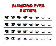 Blinking eyes steps vector preset for character animation design. Isolated on white royalty free illustration