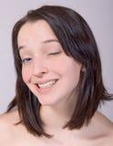 Blinking girl Royalty Free Stock Photography