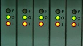 Blinking LED of working communication equipment stock footage