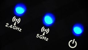 Blinking LEDs on a modern wireless router stock footage