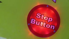 Blinking red stop button stock video footage