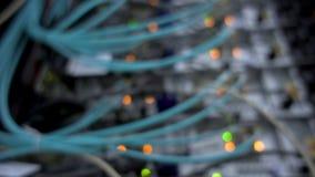 Blinking server and datacenter lights. Internet optical servers background blur stock video footage