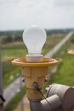 Blinklicht auf dem Radioturm Stockfotografie