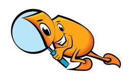 Blinky with magnifying glass Royalty Free Stock Photo