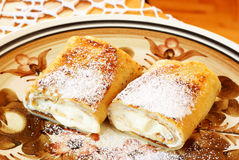 Blintz. Cheese blintzes are the traditional Jewish meal for the festival of Shavuot, when dairy meals are traditionally eaten royalty free stock photography