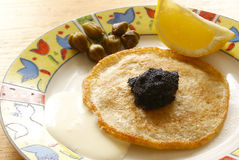 Blintz with caviar Royalty Free Stock Images